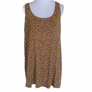 LOGO Mustard Gold Print Sleeveless Top ~ Large